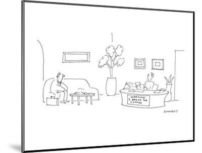 At a desk where the secretary is sitting there is a sign that reads 'WARNI? - Cartoon-Liza Donnelly-Mounted Premium Giclee Print