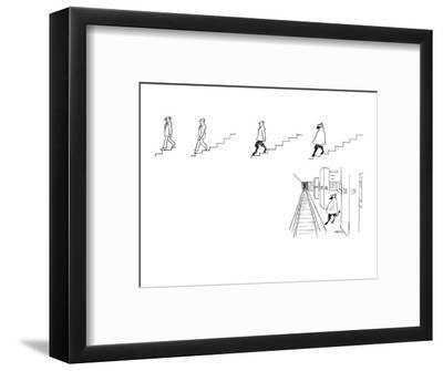 A series of drawings (5) in which an ordinary man descending a set of stai? - New Yorker Cartoon-Mischa Richter-Framed Premium Giclee Print