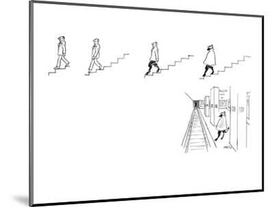 A series of drawings (5) in which an ordinary man descending a set of stai? - New Yorker Cartoon-Mischa Richter-Mounted Premium Giclee Print