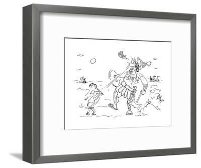 In the great battle between David and Goliath David hits Goliath with a ra? - Cartoon-Arnie Levin-Framed Premium Giclee Print