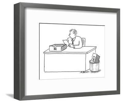 Man sitting at desk with 'In' box on desk and 'Out' box in trash. - Cartoon-Aaron Bacall-Framed Premium Giclee Print