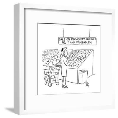 woman looks at sign in the produce section of a supermarket which reads 'S? - Cartoon-Chon Day-Framed Premium Giclee Print