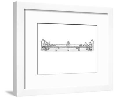 king, at long dinner table with queen, speaks to her with a megaphone - Cartoon-John Jonik-Framed Premium Giclee Print