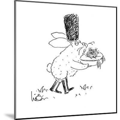 Russian Easter Bunny, carrying bejeweled Faberge Easter egg on cushion. - Cartoon-Arnie Levin-Mounted Premium Giclee Print