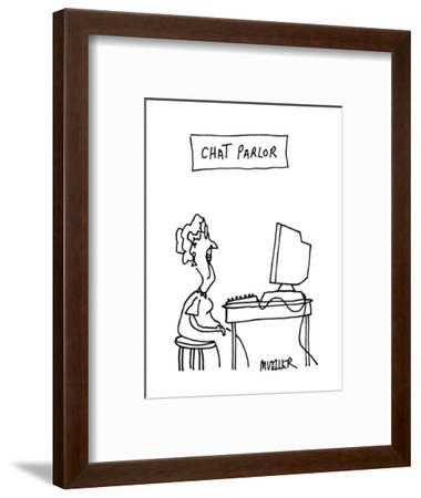 Chat Parlor - Cartoon-Peter Mueller-Framed Premium Giclee Print