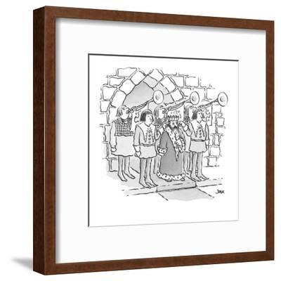 king has servants hold their fingers in his ears as trumpets behind him bl? - Cartoon-John Jonik-Framed Premium Giclee Print