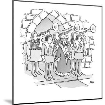 king has servants hold their fingers in his ears as trumpets behind him bl? - Cartoon-John Jonik-Mounted Premium Giclee Print