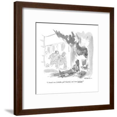 """I heard von Schleflin yell 'Eureka,'and then kerblam!"" - New Yorker Cartoon-James Stevenson-Framed Premium Giclee Print"