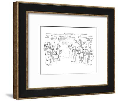 Raindeer waiting at airport holding 'Claus' sign with other drivers. - Cartoon-Arnie Levin-Framed Premium Giclee Print