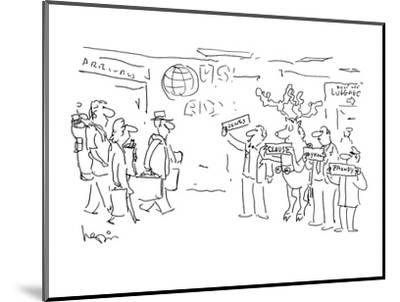 Raindeer waiting at airport holding 'Claus' sign with other drivers. - Cartoon-Arnie Levin-Mounted Premium Giclee Print