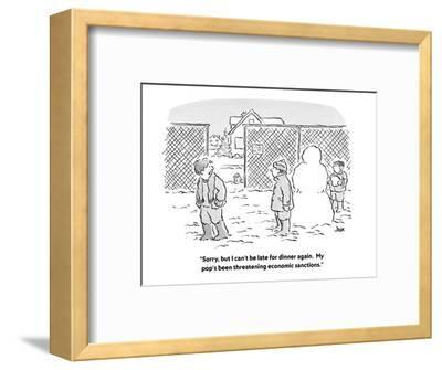 """Sorry, but I can't be late for dinner again.  My pop's been threatening e?"" - Cartoon-John Jonik-Framed Premium Giclee Print"