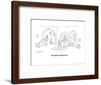 """We built a snowperson!"" - Cartoon-Michael Maslin-Framed Premium Giclee Print"