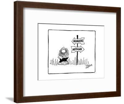 Confused man standing next to sign post with arrow signs pointed in opposi? - Cartoon-Bob Zahn-Framed Premium Giclee Print