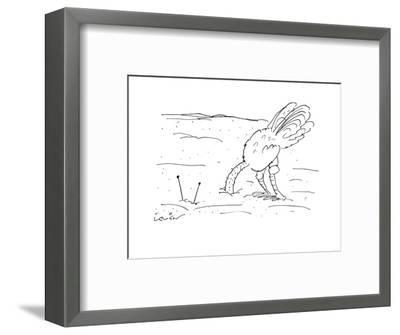 Ostrich stands with his head buried underneath the ground as he watches te? - Cartoon-Arnie Levin-Framed Premium Giclee Print