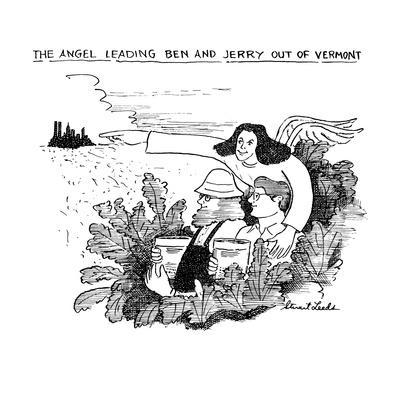 The Angel Leading Ben and Jerry Out of Vermont - New Yorker Cartoon-Stuart Leeds-Framed Premium Giclee Print