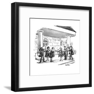 Two news teams interviewing eachother. - New Yorker Cartoon-Dana Fradon-Framed Premium Giclee Print