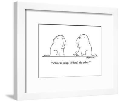 """I'd love to swap.  Where's the zebra?"" - New Yorker Cartoon-Charles Barsotti-Framed Premium Giclee Print"