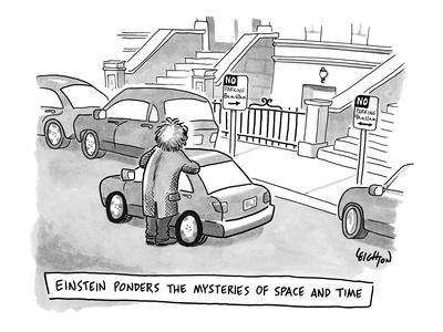 """""""Einstein Ponders the Mysteries of Space and Time"""" - New Yorker Cartoon-Robert Leighton-Framed Premium Giclee Print"""