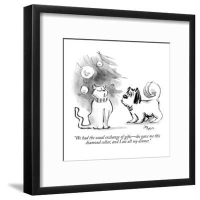 """""""We had the usual exchange of gifts?she gave me this diamond collar, and I?-Lee Lorenz-Framed Premium Giclee Print"""