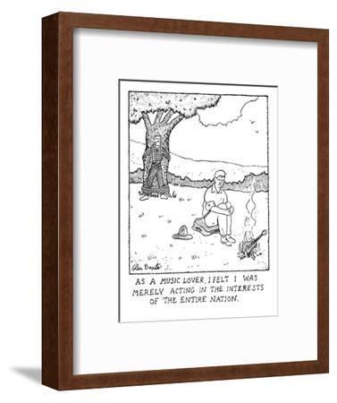 Man burning guitar. - New Yorker Cartoon-Glen Baxter-Framed Premium Giclee Print