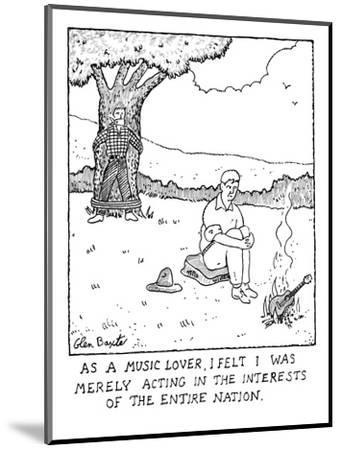 Man burning guitar. - New Yorker Cartoon-Glen Baxter-Mounted Premium Giclee Print
