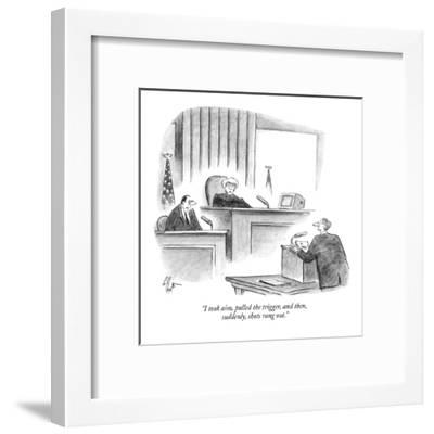 """""""I took aim, pulled the trigger, and then, suddenly, shots rang out."""" - New Yorker Cartoon-Frank Cotham-Framed Premium Giclee Print"""