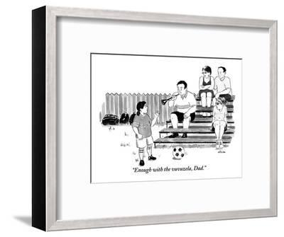 """""""Enough with the vuvuzela, Dad."""" - New Yorker Cartoon-Emily Flake-Framed Premium Giclee Print"""