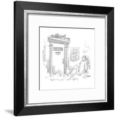God, Allah, Brahma, Yahweh, Adi-Buddha, Tirawa-Atius, Ta'aroa, & Associates - New Yorker Cartoon-Dana Fradon-Framed Premium Giclee Print
