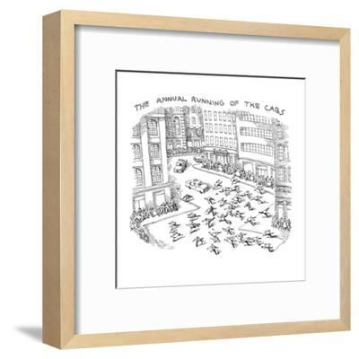 THE ANNUAL RUNNING OF THE CABS - New Yorker Cartoon-John O'brien-Framed Premium Giclee Print
