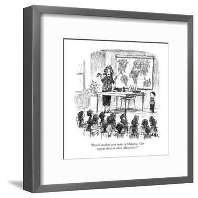 """""""Derek's sneakers were made in Malaysia. Can anyone show us where Malaysia?"""" - New Yorker Cartoon-Robert Weber-Framed Premium Giclee Print"""