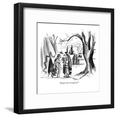 """We gave them corn last year!"" - New Yorker Cartoon-Lee Lorenz-Framed Premium Giclee Print"