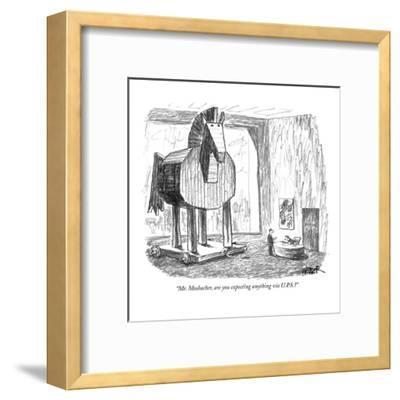 """Mr. Mosbacher, are you expecting anything via U.P.S.?"" - New Yorker Cartoon-Robert Weber-Framed Premium Giclee Print"