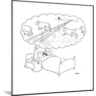 Mother sleeps with her baby and dreams of sheep jumping over fences with t? - New Yorker Cartoon-Saul Steinberg-Mounted Premium Giclee Print