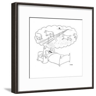 Mother sleeps with her baby and dreams of sheep jumping over fences with t? - New Yorker Cartoon-Saul Steinberg-Framed Premium Giclee Print