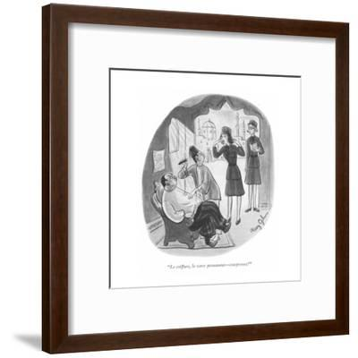 """Le coiffure, le wave permanent?comprenez?"" - New Yorker Cartoon-Mary Gibson-Framed Premium Giclee Print"
