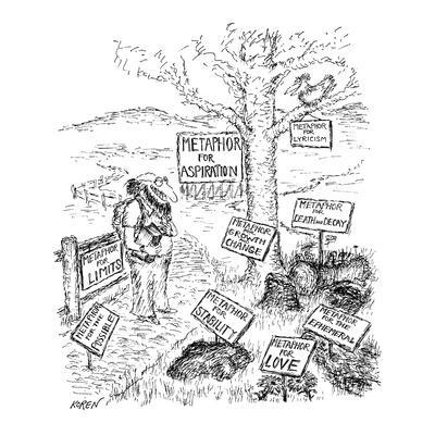 Poet in countryside sees signs on everything: Metaphor for Aspiration (tal? - New Yorker Cartoon-Edward Koren-Framed Premium Giclee Print