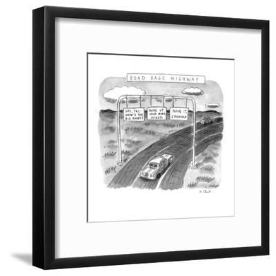 'Road Rage Highway' - New Yorker Cartoon-Roz Chast-Framed Premium Giclee Print