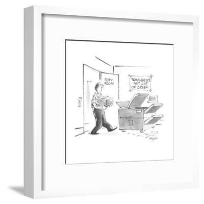 """Man going into copy room sees sign """"Temporarily not out of order"""" above th? - New Yorker Cartoon-Lee Lorenz-Framed Premium Giclee Print"""