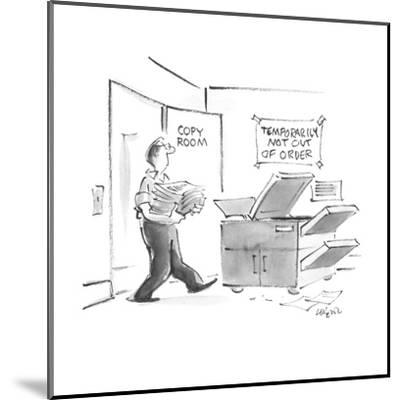 """Man going into copy room sees sign """"Temporarily not out of order"""" above th? - New Yorker Cartoon-Lee Lorenz-Mounted Premium Giclee Print"""