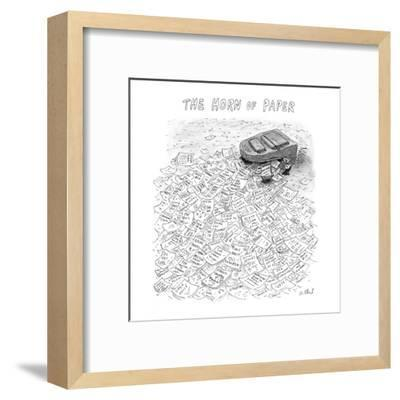 The Horn of Paper - New Yorker Cartoon-Roz Chast-Framed Premium Giclee Print