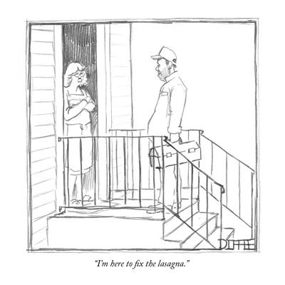"""I'm here to fix the lasagna."" - New Yorker Cartoon-Matthew Diffee-Framed Premium Giclee Print"