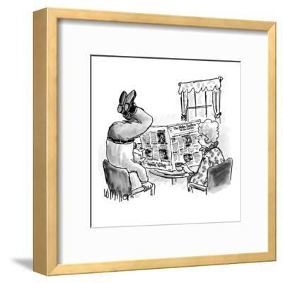 Woman reads N.Y. Times at table as husband stands on head to read the upsi? - New Yorker Cartoon-Warren Miller-Framed Premium Giclee Print