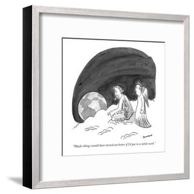 """""""Maybe things would have turned out better if I'd put in a whole week."""" - New Yorker Cartoon-John Donohue-Framed Premium Giclee Print"""