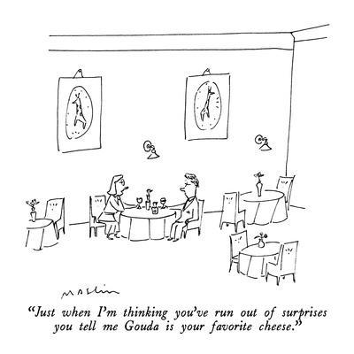 """""""Just when I'm thinking you've run out of surprises you tell me Gouda is y?"""" - New Yorker Cartoon-Michael Maslin-Framed Premium Giclee Print"""