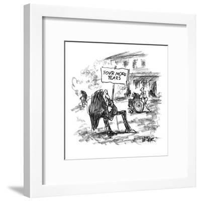 Elderly man sitting in yard of nursing home with sign that reads, 'Four Mo? - New Yorker Cartoon-Robert Weber-Framed Premium Giclee Print