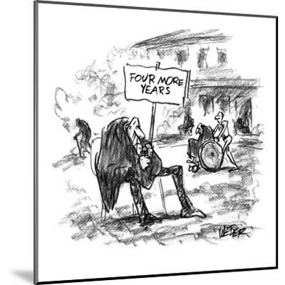 Elderly man sitting in yard of nursing home with sign that reads, 'Four Mo? - New Yorker Cartoon-Robert Weber-Mounted Premium Giclee Print