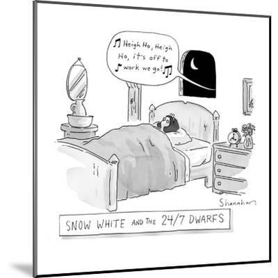 'Snow White and the 24/7 Dwarfs - New Yorker Cartoon-Danny Shanahan-Mounted Premium Giclee Print