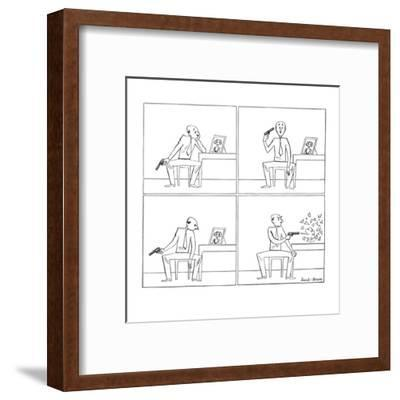 Man with gun looks at girl's picture, considers shooting himself but shoot? - New Yorker Cartoon-Leonard Dove-Framed Premium Giclee Print