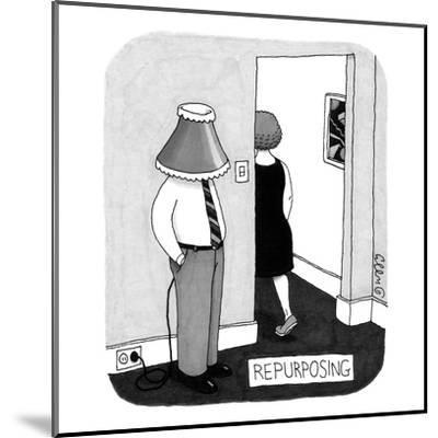 A man stands near the entryway of a room with a lampshade on his head. He ? - New Yorker Cartoon-J.C. Duffy-Mounted Premium Giclee Print