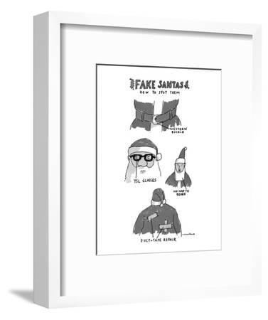 Fake Santas - New Yorker Cartoon-Michael Crawford-Framed Premium Giclee Print